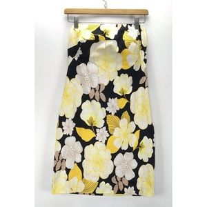 Cache Black Yellow Floral Sleeveless Dress